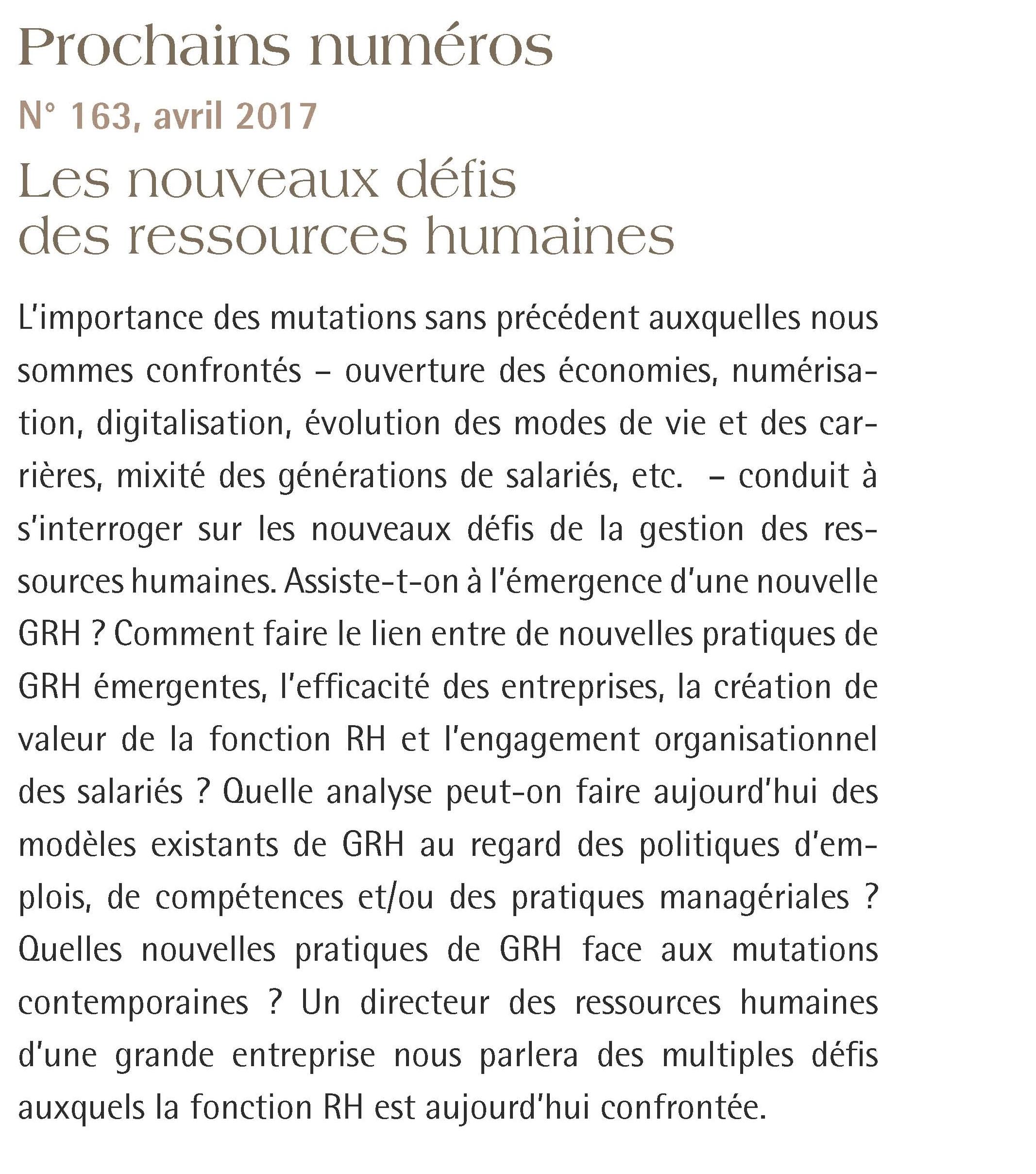 Le thème est le nouveau défi des ressources humaines   une nouvelle GRH  doit apparaître pour tenir compte des évolutions de l environnement et  permettre ... 8c52f5a459e